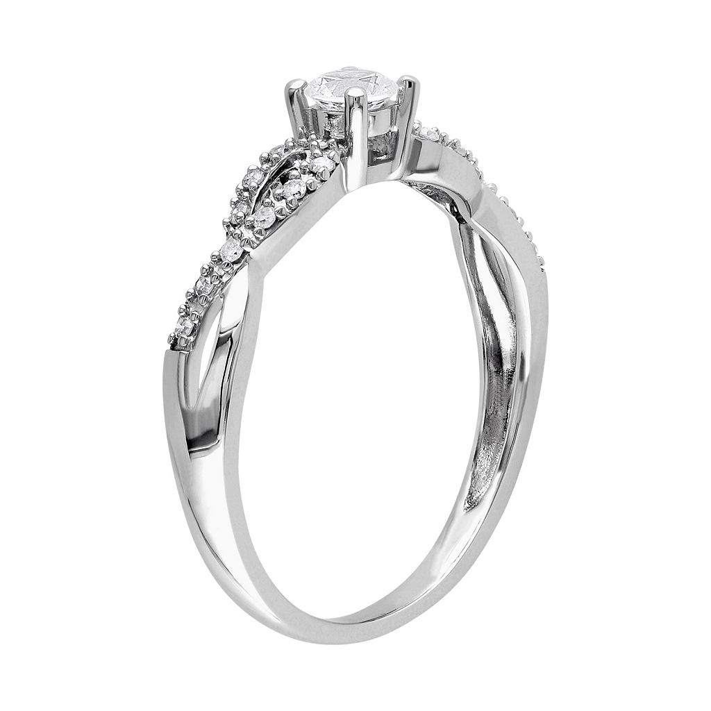 10k White Gold Lab-Created White Sapphire & 1/10 Carat T.W. Diamond Swirl Ring