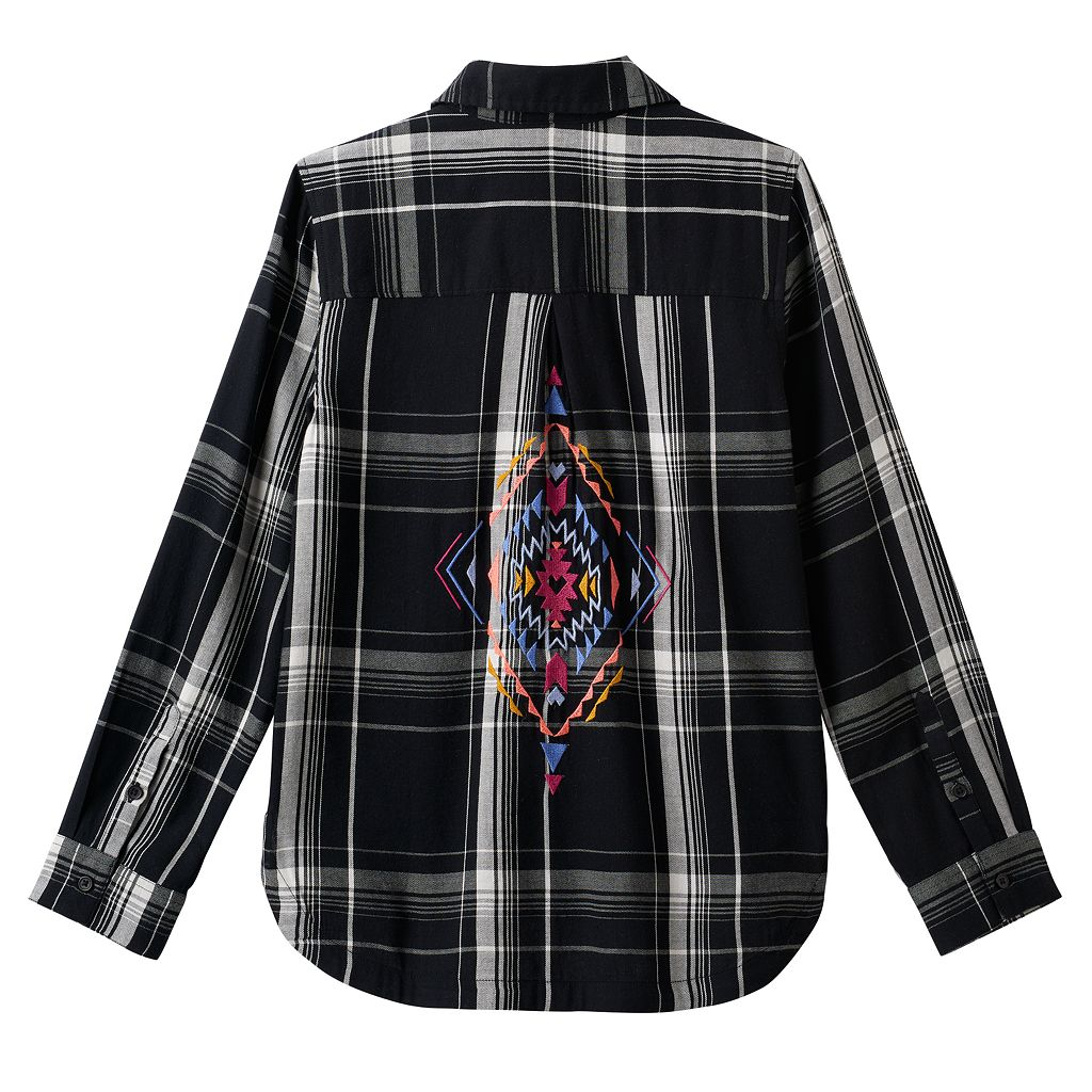 Girls 7-16 & Plus Size Mudd® Embroidered Back Plaid Button-Down Shirt