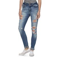 Juniors' Indigo Rein Ripped Cuffed Ankle Jeans