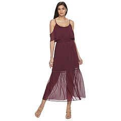 Petite Jennifer Lopez Chiffon Cold-Shoulder Dress