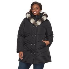 Plus Size KC Collections Faux Fur Trim Double Breasted Puffer Coat