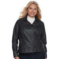 Juniors' Plus Size J-2 Moto Faux-Leather Jacket