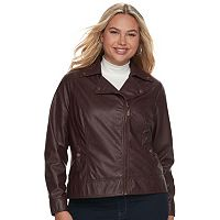 Juniors' Plus Size J-2 Moto Faux-Leather Jacket