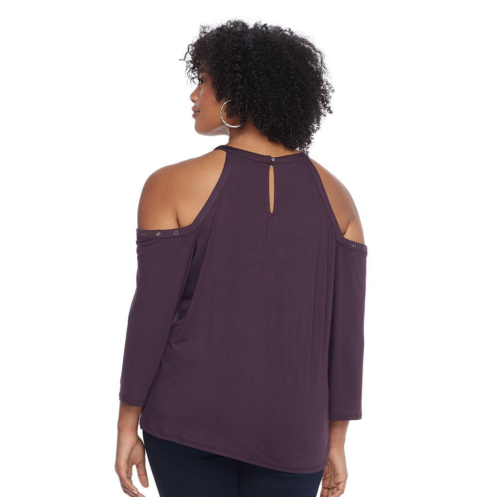 Plus Size Rock & Republic® Grommet Cold-Shoulder Top