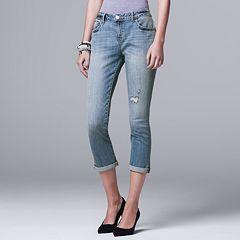 Petite Simply Vera Vera Wang Ripped Boyfriend Jeans