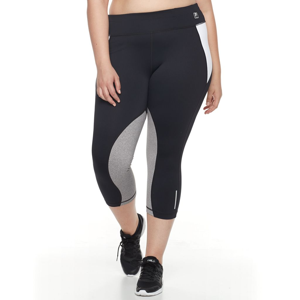 Plus Size FILA SPORT® Contrast Panel Running Capri Leggings