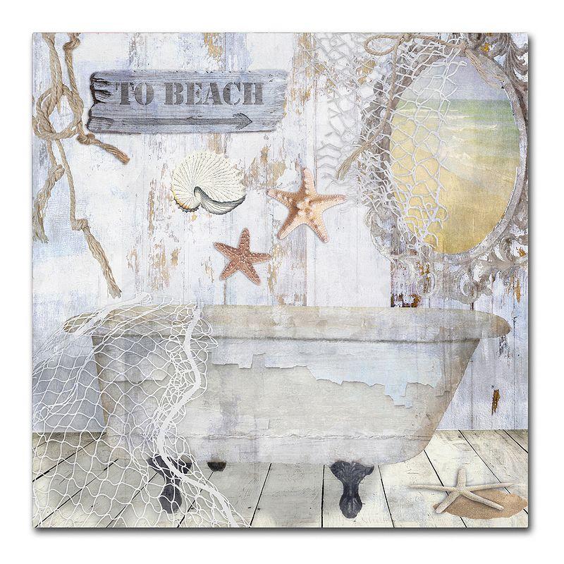 Trademark Fine Art Beach House I Canvas Wall Art, White, 18X18