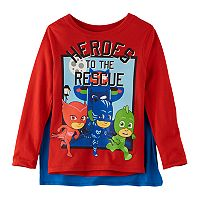 Toddler Boy PJ Masks Catboy, Gekko & Owlette Tee with Removable Cape