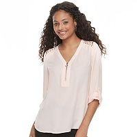 Juniors' Candie's® Strappy Shoulder Long Sleeve Top