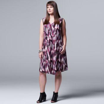 Plus Size Simply Vera Vera Wang Printed Asymmetrical Dress