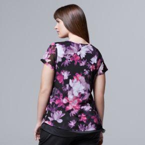 Plus Size Simply Vera Vera Wang Printed Mesh Tee