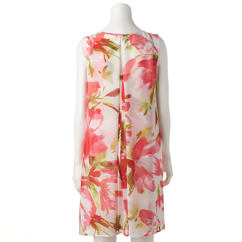 Women's Connected Apparel Pleated Floral Shift Dress