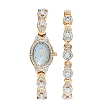 Elgin Women's Cubic Zirconia Teardrop Watch & Bracelet Set
