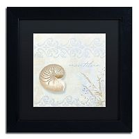 Trademark Fine Art She Sells Seashells I Black Matted Framed Wall Art