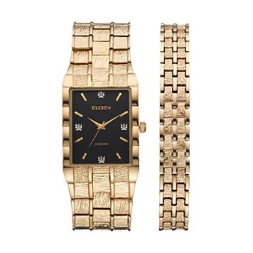 Elgin Men's Diamond Textured Watch & Bracelet Set