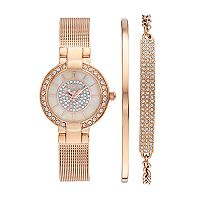 Elgin Women's Cubic Zirconia Pave Mesh Stainless Steel Watch & Bracelet Set