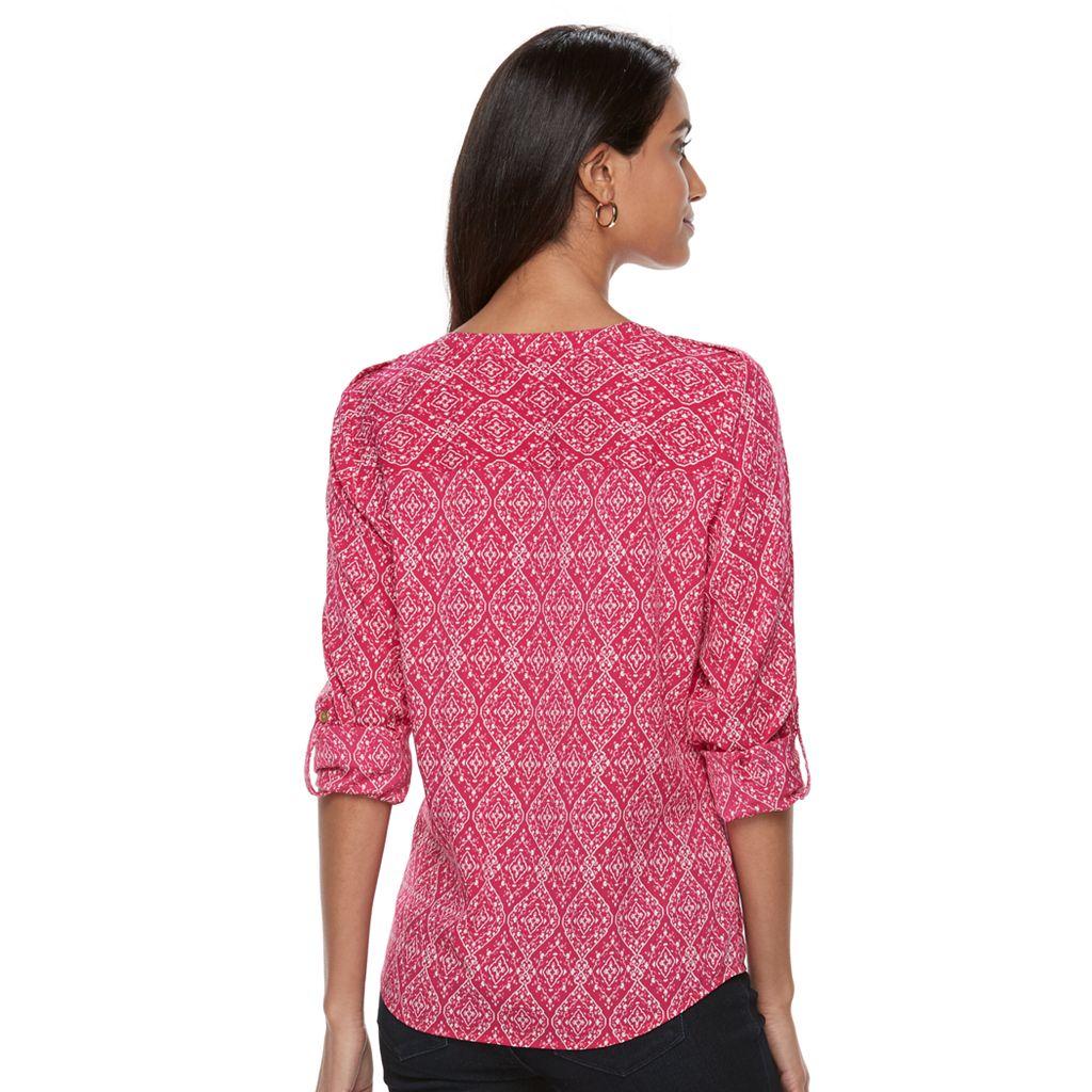 Petite Croft & Barrow® Printed Crepe Shirt