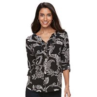 Petite Croft & Barrow® Printed Crepe Shirt