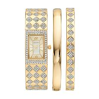 Elgin Women's Cubic Zirconia Checkerboard Bangle Watch & Bracelet Set