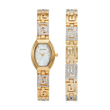 Elgin Women's Cubic Zirconia Greek Key Watch & Bracelet Set