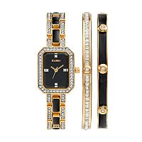 Elgin Women's Cubic Zirconia Two Tone Watch & Bracelet Set