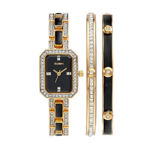 Elgin Women's Cubic Zirconia Two Tone Watch & Bracelet Set
