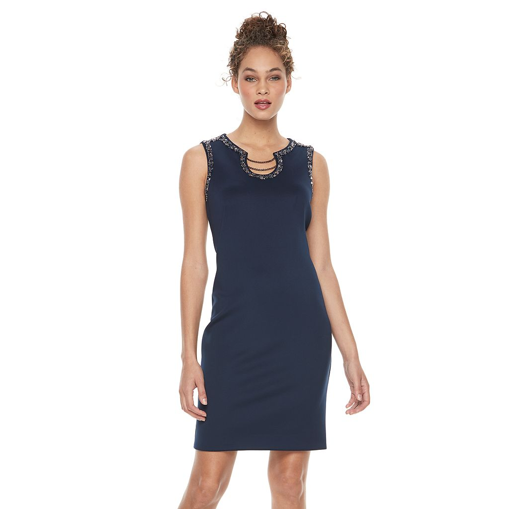 Women's Expo Embellished Chain Sheath Dress