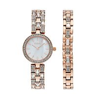 Elgin Women's Cubic Zirconia Watch & Bracelet Set
