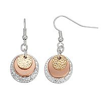 Tri Tone Hammered Nickel Free Disc Drop Earrings