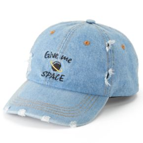 "Women's SO® Distressed Denim ""Give Me Space"" Baseball Cap"