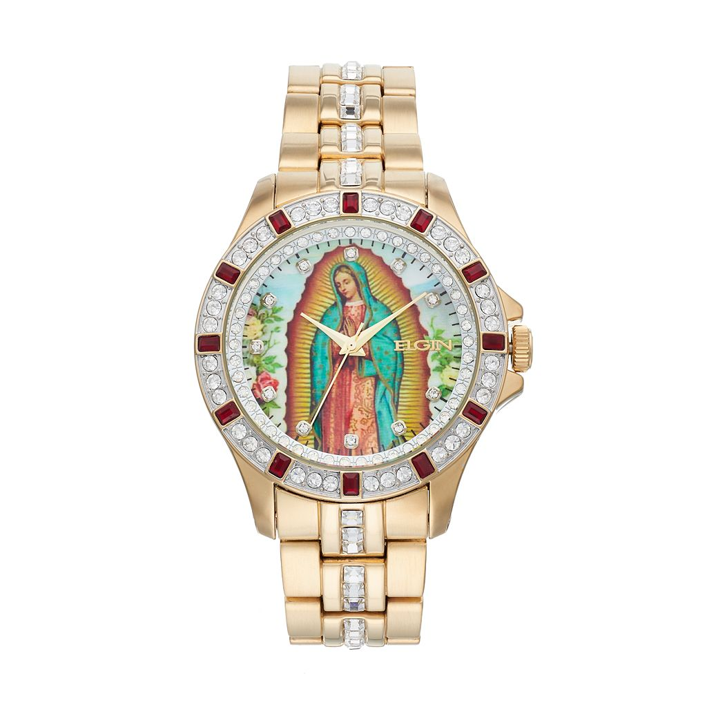 Elgin Men's Crystal Our Lady of Guadalupe Watch
