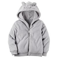 Toddler Girl Carter's Sherpa 3D Ears Critter Zip Hoodie