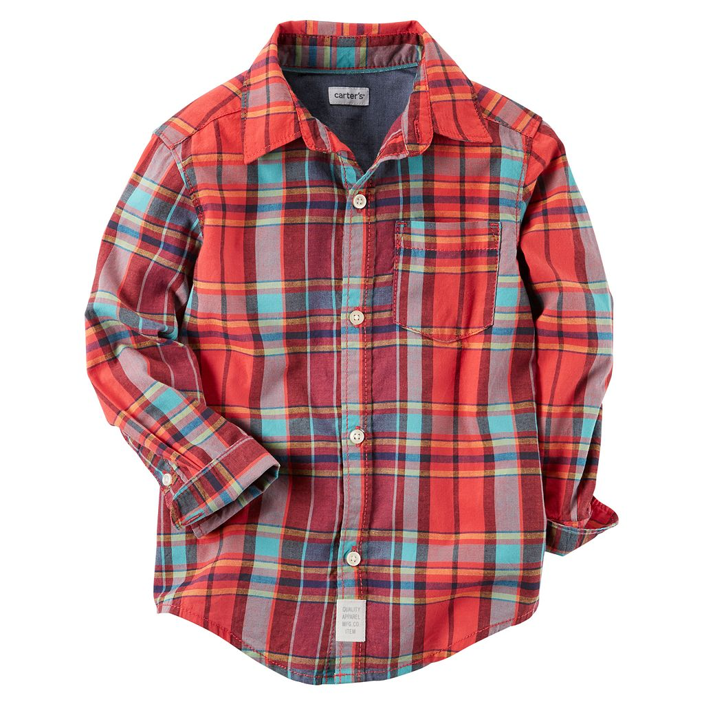 Boys 4-8 Carter's Red Plaid Button Down Shirt