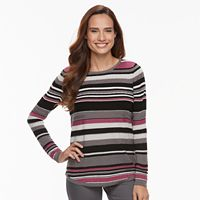 Petite Croft & Barrow® Textured Stripe Sweater