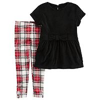 Toddler Girl Carter's Velour Dress & Plaid Leggings Set