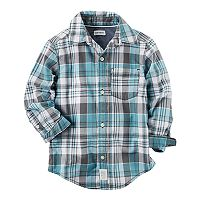 Boys 4-8 Carter's Teal Plaid Button Down Shirt