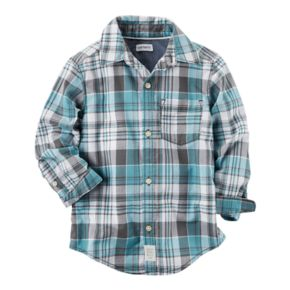 Boys 4-8 Carter's Teal Plaid Button Down Shirt