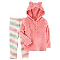 Toddler Girl Carter's Sherpa Hoodie & Striped Leggings Set