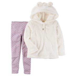 Toddler Girl Carter's Sherpa Hoodie & Geometric Leggings Set