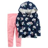 Toddler Girl Carter's Fleece Floral Hoodie & Leggings Set