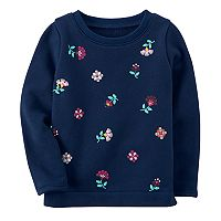 Toddler Girl Carter's Printed Flower Navy Tee