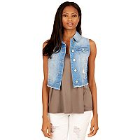 Juniors' Wallflower Fray Hem Denim Vest