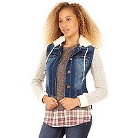 Juniors' Wallflower Cable Knit Denim Jacket