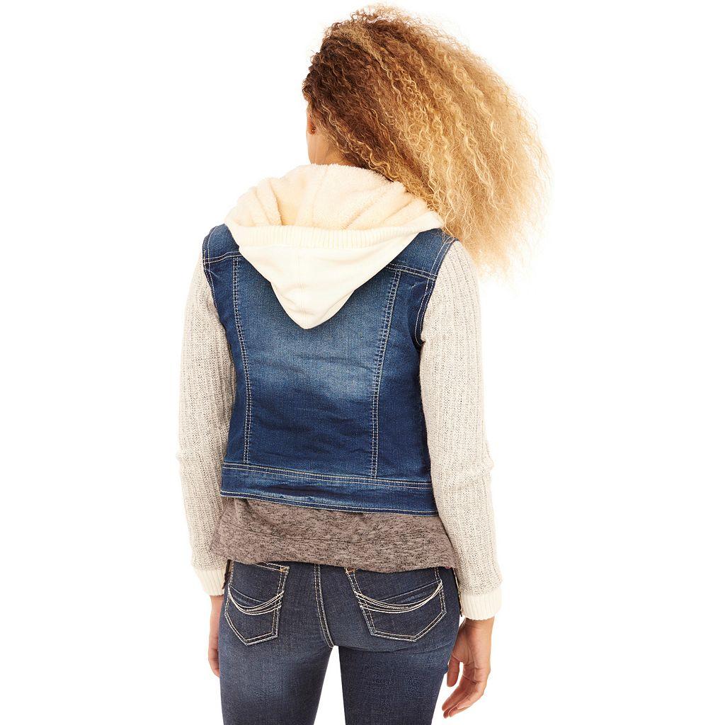 Juniors' Wallflower Cable Knit Denim Jacket