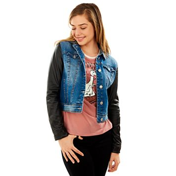 Juniors' Wallflower Hooded Mixed Media Denim Jacket