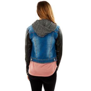 Juniors' Wallflower Hooded Mixed Media Denim Jacket