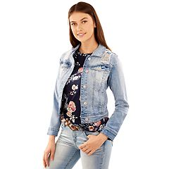 Juniors' Wallflower Ripped Light Wash Denim Jacket