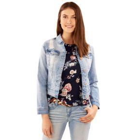 Juniors' Wallflower Ripped Light Wash Denim Jacket