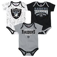 Baby Oakland Raiders Playmaker 3-Pack Bodysuit Set