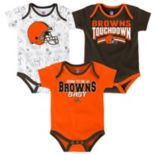 Baby Cleveland Browns Playmaker 3-Pack Bodysuit Set